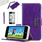 iPhone 5C Wallet Case, ULAK Fashion Magnetic Clip Wristlet Wallet Stand Case for Apple iPhone 5C with Credit Card Holder Screen Protector and Stylus (Purple)