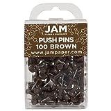 JAM PAPER Colorful Push Pins - Chocolate Brown Pushpins - 100/Pack (Color: Chocolate Brown, Tamaño: 100 Pack)