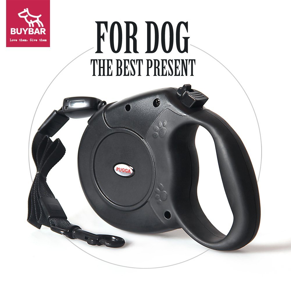 BUYBAR Retractable Dog Leash One Button Lock ON/OFF Comfortable Ergonomic Hand Grip Designed Sturdy Nylon Pet Leashes Great for Walking & Running