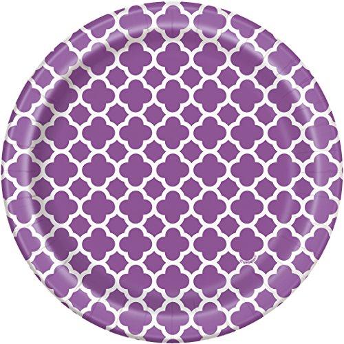 Purple Quatrefoil Dessert Plates, 8ct