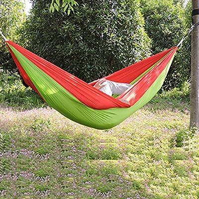 Einzel-Doppel-Fallschirmtuchhängematte Outdoor-Camping-Indoor-Freizeit Schaukel Nylon Knoten Upgrade Abschnitt von Flying little witch Hammock bei Gartenmöbel von Du und Dein Garten