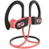 Mpow Flame Bluetooth Headphones Waterproof IPX7, Wireless Earbuds Sport, Richer Bass HiFi Stereo in-Ear Earphones w/Mic, Case, 7-9 Hrs Playback Noise Cancelling Headsets (Comfy & Fast Pairing) (Color: Pink Black, Tamaño: 2.33oz)