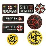 SIX VANKA 8piece Bundle Zombie Outbreak Response Team Umbrella Corporation Resident Evil PVC Rubber Patches Tactical Velcro Patch (Color: Resident Evil Patch Set)