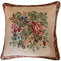 Set of 2 Piece 18 x 18 Inch Decorative Tapestry Festive Red Yuletide Blooms Decorative Accent Throw Pillow Cushion Cover