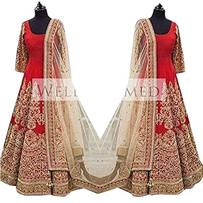 Astha bridal women Brasso gown(read gown_red colour_42)