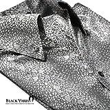 (ブラックバリア) BLACK VARIA シャツ パイソン 蛇 ヘビ柄 スキッパー ボタンダウン ドレスシャツ シルバーグレー 151130 L