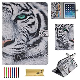 iPad Air Case, Alugs Ultra Slim Fashion Painting Cute Design PU Leather Wallet Magnetic Case Cover for Apple iPad Air /iPad 5(Tiger)