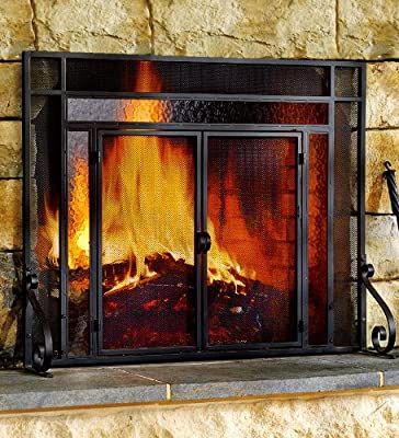 Small Two-Door Tubular Steel Fire Screen with Tempered Glass Accents