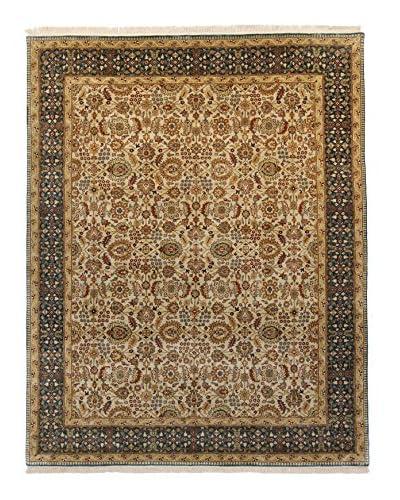 "F.J. Kashanian Agra Hand-Knotted Rug, Beige/Teal, 5' 8"" x 8' 9"""