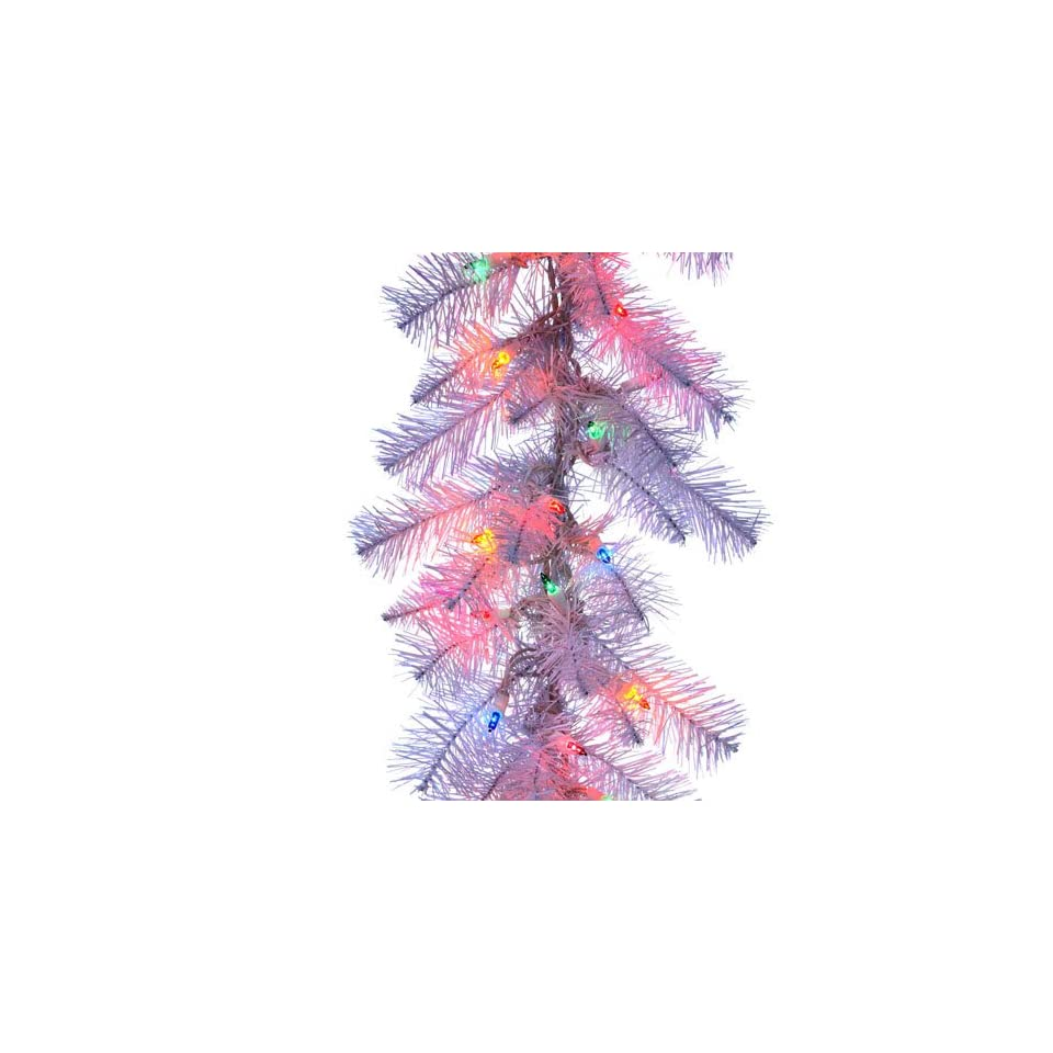 9 x 12 Pre Lit White Tinsel Artificial Christmas Garland   Multi Color Lights