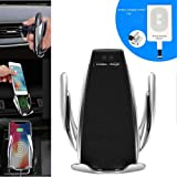XBERSTAR Automatic Opening and Clamping Wireless Car Charger Air Vent Mount 360 Degree Rotations for iPhone iOS Samsung Android Type-C Smart Phones (Tamaño: ios)