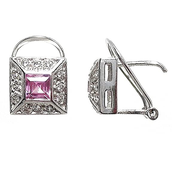 18k white gold pendant 18k pink cubic zirconia stone [606P]