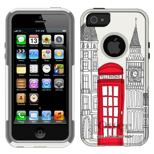Special Sale Otterbox Commuter Series London Red Telephone Booth Hybrid Case for iPhone 5 & 5s
