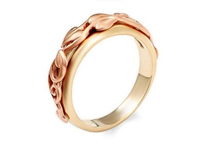 Clogau 9ct Rose And Yellow Gold Ivy Leaf Eternity Ring Wedding Engagement - Size M