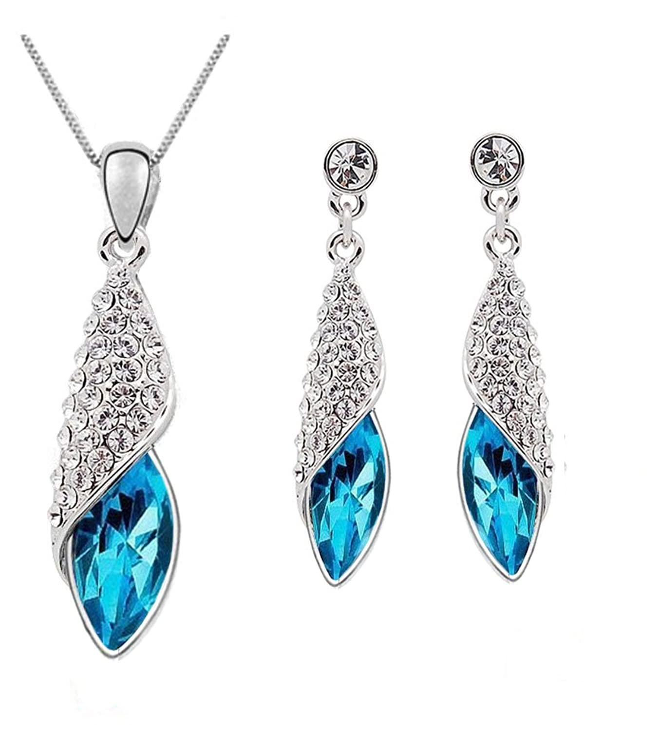 Crunchy fashion Blue Eterno Crystal Pendant Set For Women