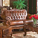 Coaster Loveseat in Brown Tri-Tone Leather