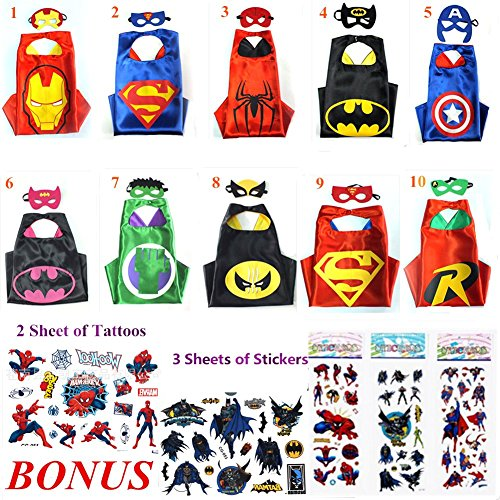 [Superhero Cape and Mask Costumes For Kids Set Capes, Masks, Stickers and Tattoos] (Iron Man 3 Costumes Kids)