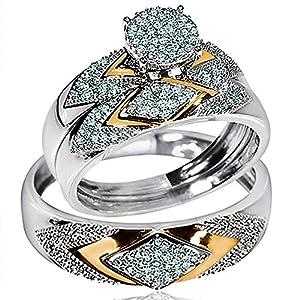 His Her Wedding Rings Set Trio Men Women 14k White Yellow Gold Two Tone