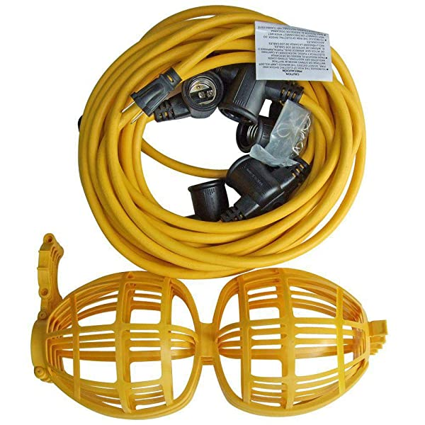 Fitting Stores (Pack of 5) Construction String Lights 100 ft Male Female End (Color: Yellow)