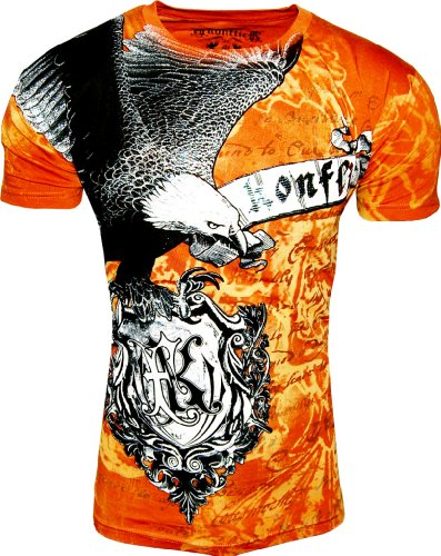 Konflict NWT Men's Burnt Orange Eagle Graphic Designer MMA Muscle T-shirt!-Burnt Orange-Small