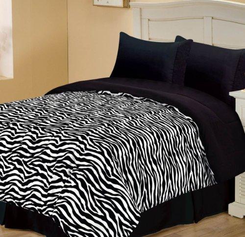 Chic Home Zebra Design Single Comforter, Twin, Black front-999142