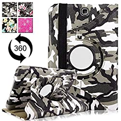 Galaxy Tab A 9.7 Inch Case - Cellularvilla 360 Degree Rotating Pu Leather Flip Folio Swivel Stand Smart Case Cover Protector For Samsung Galaxy Tab A 9.7 inch SM-T550 Tablet (Army Camouflage)