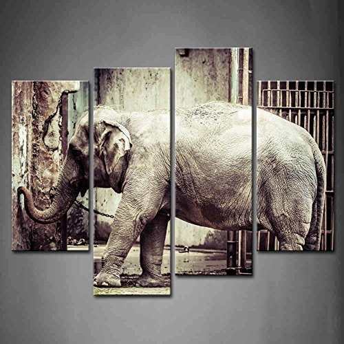 4 Panel Wall Art Black And White Elephant In The Zoo Iron Gate Painting The Picture Print On Canvas Animal Pictures For Home Decor Decoration Gift Piece (Stretched By Wooden Frame,Ready To Hang)