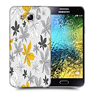 Snoogg Yellow Flower Grey Printed Protective Phone Back Case Cover ForSamsung Galaxy E5
