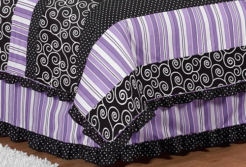 Queen Bed Skirt For Purple And Black Kaylee Childrens Teens Bedding Sets By Sweet Jojo Designs front-227673