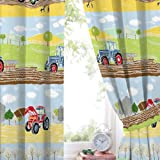 "Hiccups Field Days Pencil Pleat Lined Curtains 66"" wide x 72"" drop"