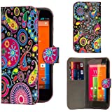 32nd® Design book wallet PU leather case cover for Motorola Moto G (1st Gen / 2013 edition) + screen protector and cleaning cloth - Jellyfish