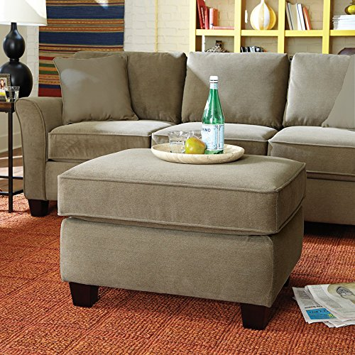 Living Room Ottoman - Upholstered Fabric|Contemporary Casual Accent Design to Match Armchair, Loveseat, or Sofa Couch - by ExceptionalSheets, Caress Smoke