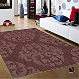 Espresso Brown Living Room Contemporary Modern Wool Area Rug, Handcrafted Elegant Damask 5' by 7-Feet