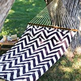 Walnut & Cream Striped Chevron Patterned Quilted Polyester Outdoor Hammock - Includes Hammock Pillow, Hanging Hardware, and Spreader Bar (Stand Not Included)