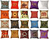 Indian Decor Handmade Cotton Cushion Cover Pillow Covers Pillow Case Cotton linen Cushion Cover Decorative Square Home Throw Sofa Simple with Assorted Color 16 X 16 Inches 10 Pcs Lot