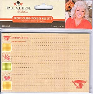 Paula Deen Kitchen From My Home to Yours Colander and Gingham Recipe Cards Pack of 20