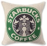 Starbucks スターバックス ロゴ イラスト プリント クッションカバー 麻 45*45 (旧ロゴグリーン) [並行輸入品]