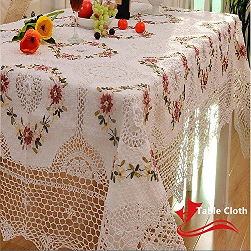 Ustide Rustic Table Cloth Gorgeous Handmade Crochet Embroidery Overlays Lace With Ribbon Table Cover For Kitchen,Tea Table,Tv,Sofa