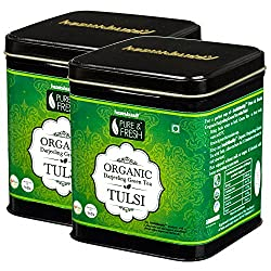 Healthbuddy Organic Darjeeling Tulsi Green Tea 2 Packs of 100 gm Each