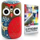 CaseiLike � rot, Owl-Grafik-Design, Snap-on Koffer wieder cover f�r Samsung Galaxy S3 Mini i8190 mit Displayschutzfolie 1pcs.