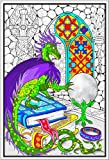 Dragon Crystal Ball - 22x32.5 Giant Line Art Coloring Poster