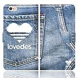 [iPhone6S 6 兼用 手帳型 ケース カバー] LOVEDES デニム柄 T