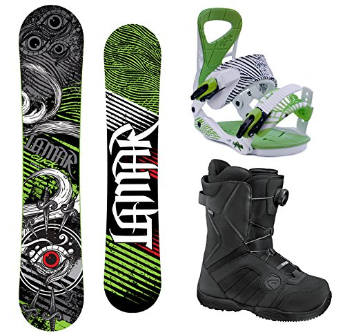 Lamar Click Complete Snowboard Package with Matching Bindings and Flow BOA Boots - Board Size 151 (Boots Sz 8)