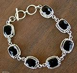 Onyx link bracelet, 'Enchantment' - Sterling Silver and Onyx Link Bracelet
