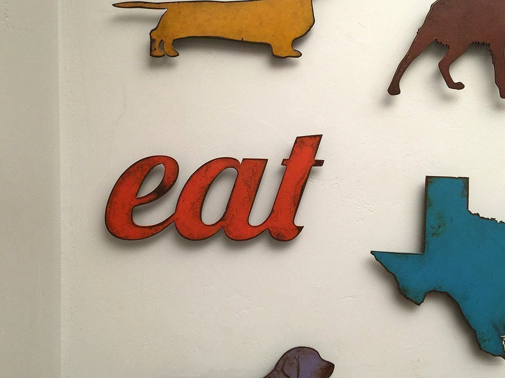 11 inch long eat metal wall art word - Handmade - Choose your patina color	 2
