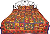 Exotic India Multicolor Sanganeri Bedspread from Gujarat with Printed Flowers and Kantha Stitch - Pu