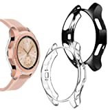 Goton Compatible Samsung Galaxy Watch 42mm Case 2018 (for SM-R815 / SM-R810), [ 2 Color Packs ] Soft TPU Smart Shockproof Case Cover Bumper Protector (Clear + Black, 42mm) (Color: 42mm Clear + Black, Tamaño: 42 mm)