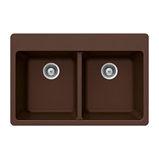 Houzer MADISON N-200 COPPER Madison Series Topmount Granite Double Bowl Kitchen Sink, Copper