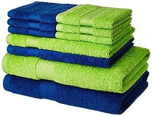 Solimo 100% Cotton 10 piece Towel Set, 500 GSM (Iris Blue and Spring Green)