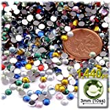 The Crafts Outlet 1440-Piece Round Rhinestones, 3mm, Pastel Assortment